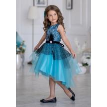 Платье нарядное бирюзовое с ассиметричной юбкой Гламур