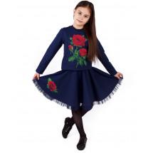 Комплект синего цвета юбка и кофта с розами