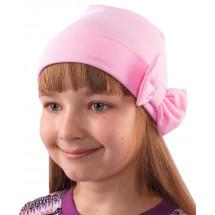Шапка весенняя для девочек светло-розовая с бантиком