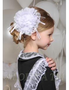 "Бант для волос белого цвета на мягкой резинке ""Вивана"" (2шт)"