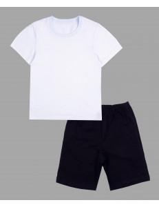 Комплект детский для физкультуры (черные шорты + белая футболка)