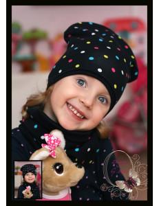 Комплект темно-синий для девочки в цветной горох (удлиненная шапка и снуд)