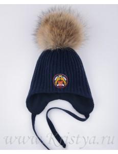 Шапка зимняя для мальчиков синего цвета КОРОЛЕВСКИЙ CLUB