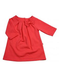 Платье для девочек коралловое с рукавом три четверти