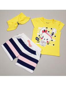 """Комплект для малышей с повязкой желтого цвета """"Зайка"""""""
