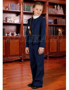 """Костюм для девочек синего цвета (жакет и брюки) """"Классика"""""""