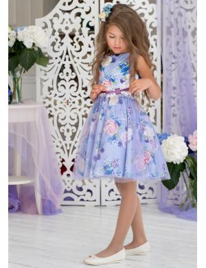 """Платье нарядное сиреневое c цветочным принтом """"Фиби"""""""